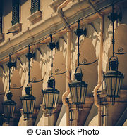 Stock Photo of Specific old Corfu Town facades, Greece.