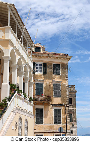 Stock Photographs of old buildings Corfu town Greece csp35833896.