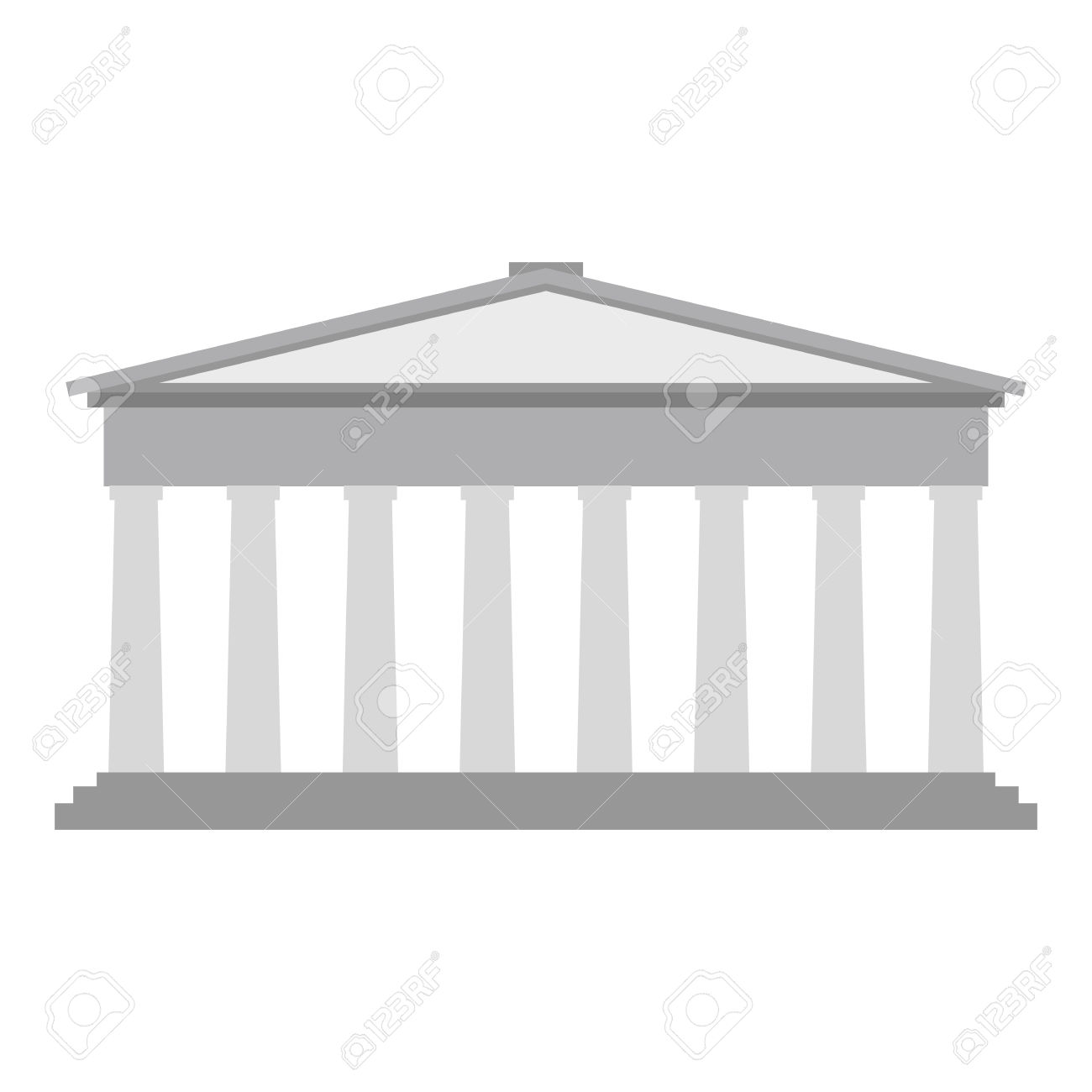 Roman Or Greek Pantheon With Corinthian Columns. Flat Style.