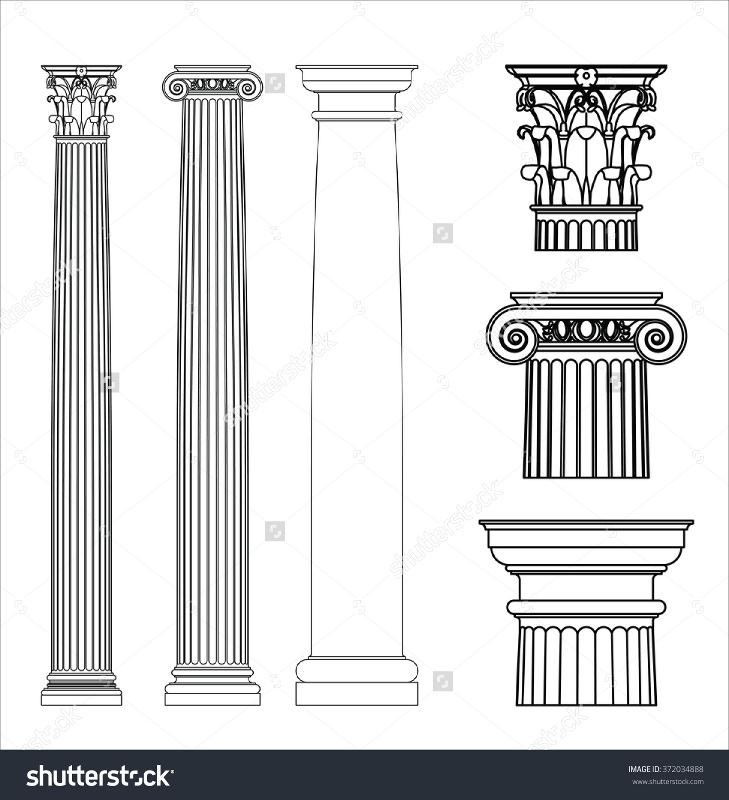 Set Ancient Greek Columns Doric Ionic Stock Vector 372034888.