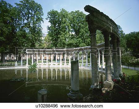 Stock Images of Parc de Monceau Corinthian style colonnade, Paris.