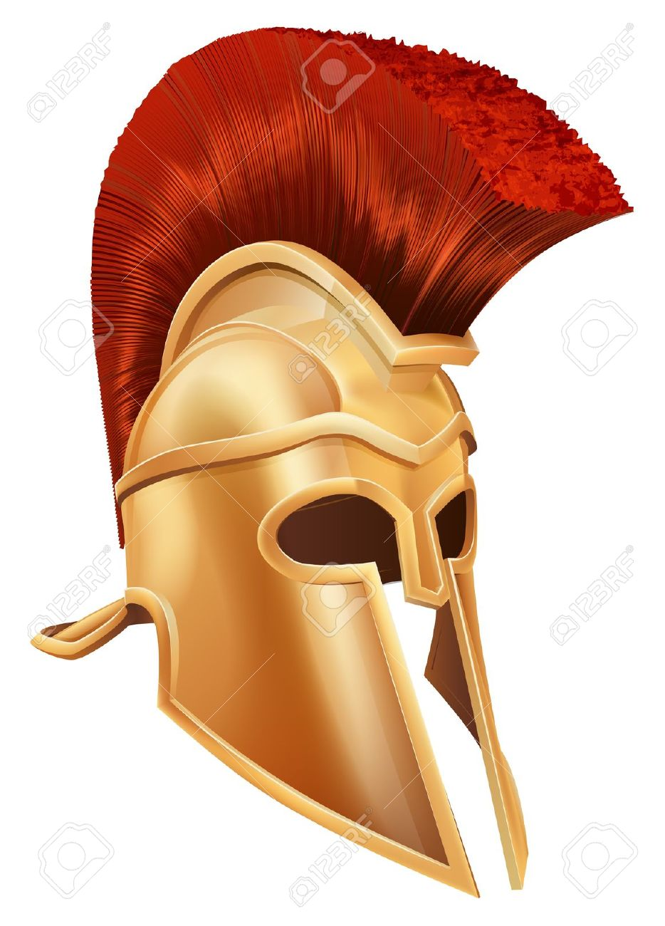 Illustration Of A Bronze Trojan Helmet, Spartan Helmet, Roman.