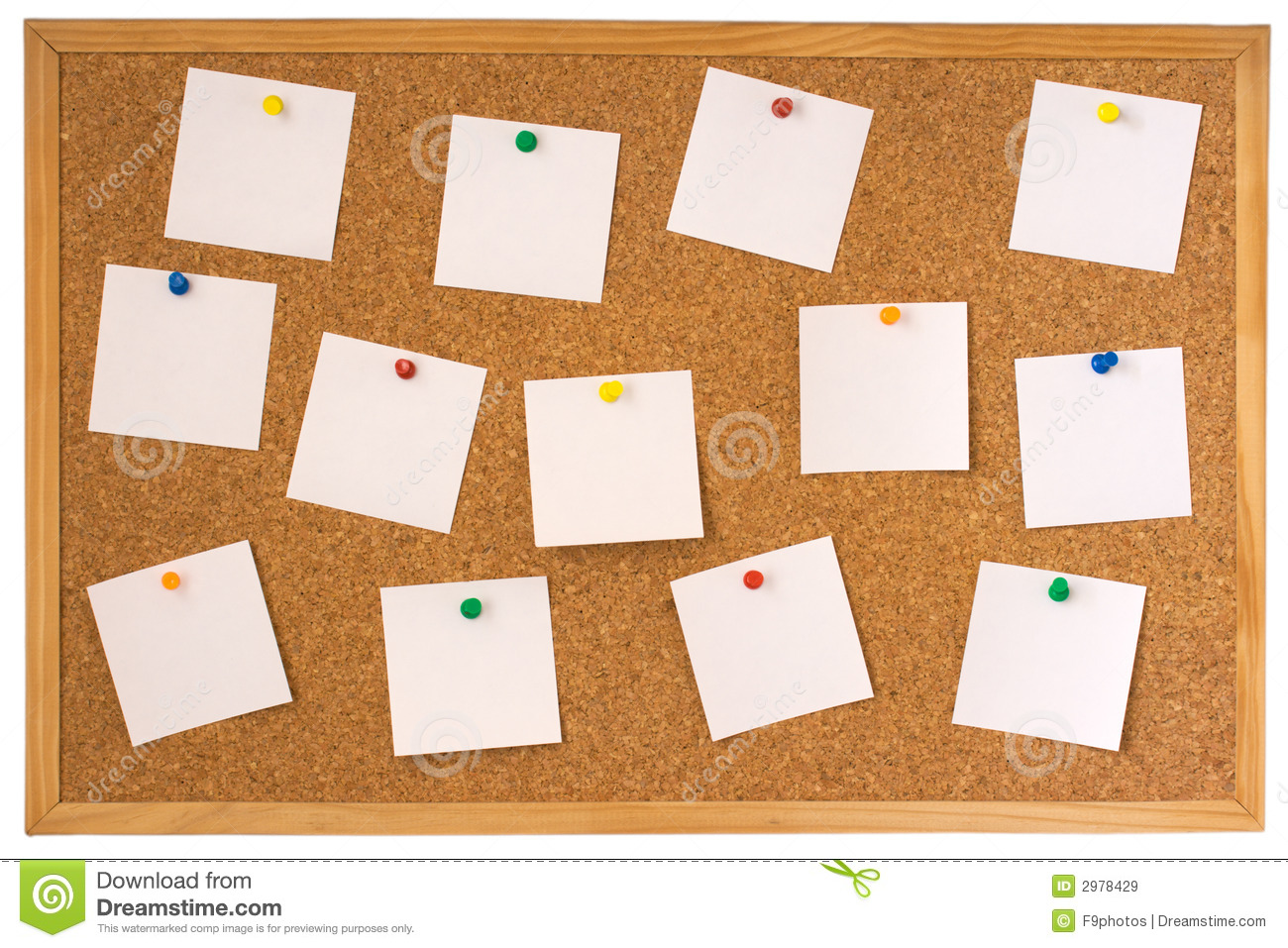 Cork Board With Pinned Notes Royalty Free Stock Images.
