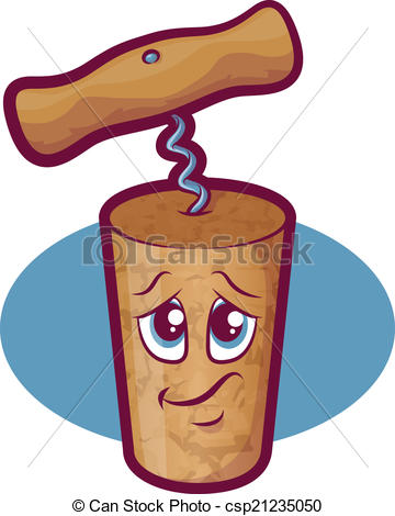 Clipart Vector of Wine Cork Character.