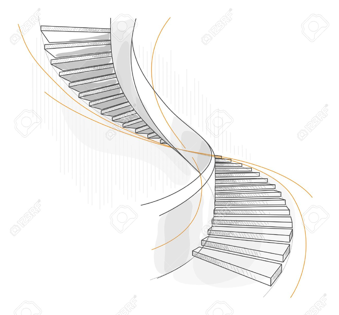 Sketch Of A Spiral Staircase. Vector Illustration. Royalty Free.