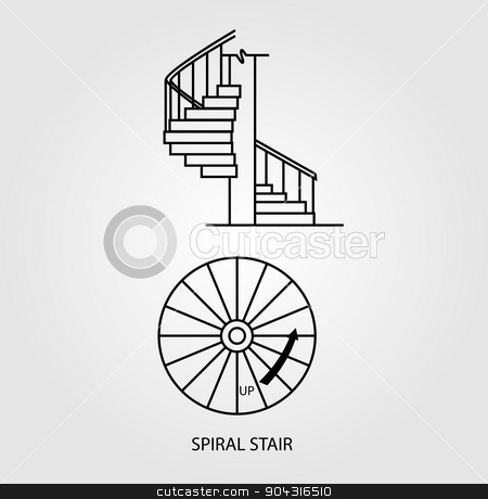 Top view and side view of a Spiral Staircase stock vector.