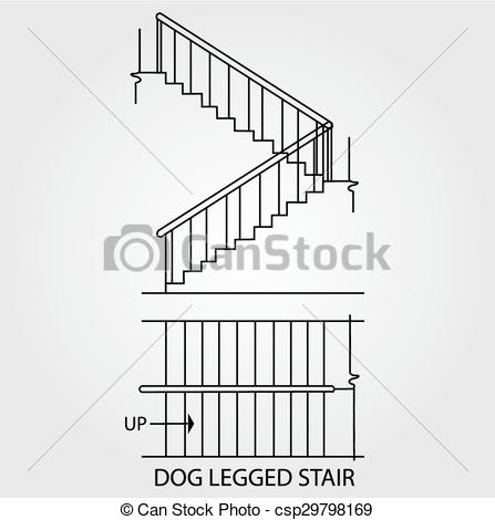 Clip Art Vector of dog legged staircase.