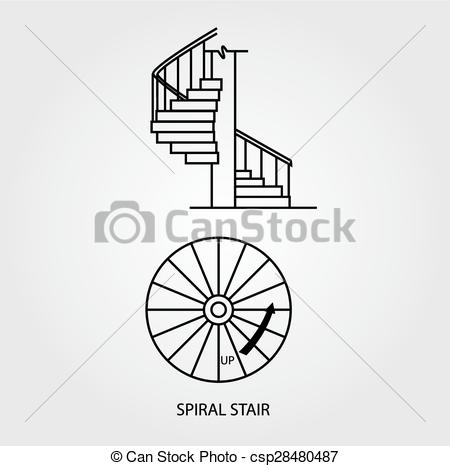Vector of Top and side view of a Spiral stair.