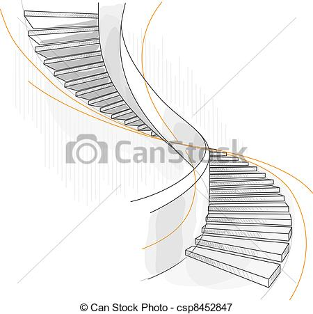 Vectors Illustration of Sketch of a spiral staircase. Vector.