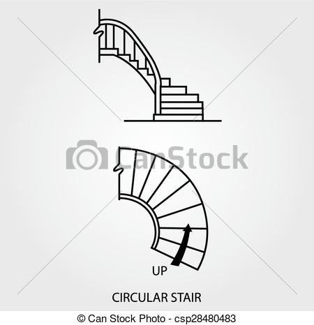 Vector of Top and side view of circular stair.