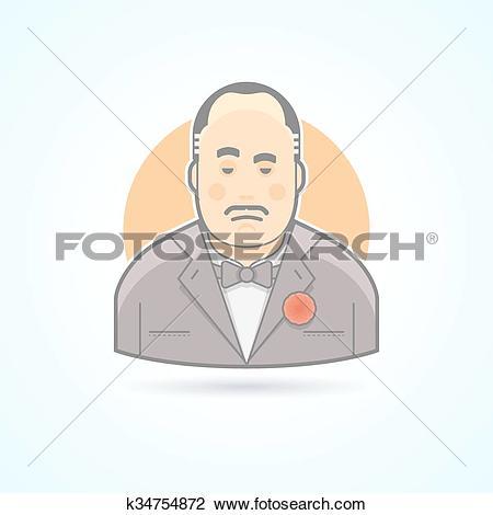 Clipart of Italian mafiosi, criminal leader, Don Corleone icon.