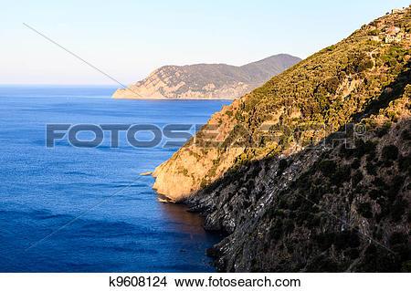 Stock Photo of The Wild and Rocky Coast near Village of Corniglia.