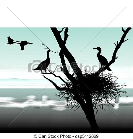 Vecteurs EPS de nid, Cormorans.