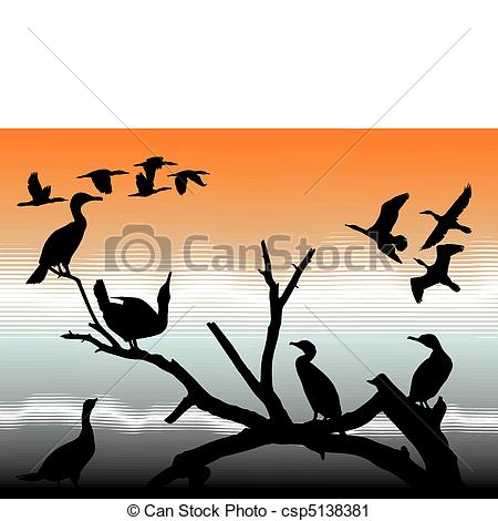 Vector Clip Art of Cormorants.