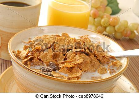 Stock Image of Bran or corn flakes.