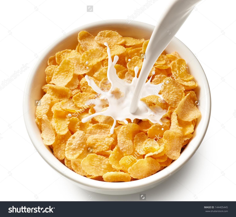 Pouring Milk Into Bowl Corn Flakes Stock Photo 144405445.