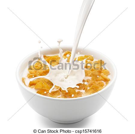 Stock Photography of corn flakes with milk splash.