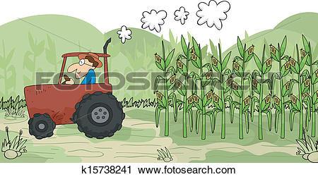Clipart of Harvesting Corn k15738241.