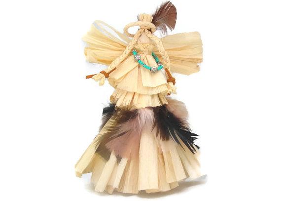 Corn Husk Doll Native American Angel American by ArtDollsNaturally.