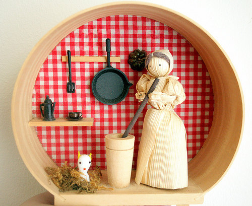 Little Corn Husk Doll in her Tiny Kitchen by loliejanevintage.