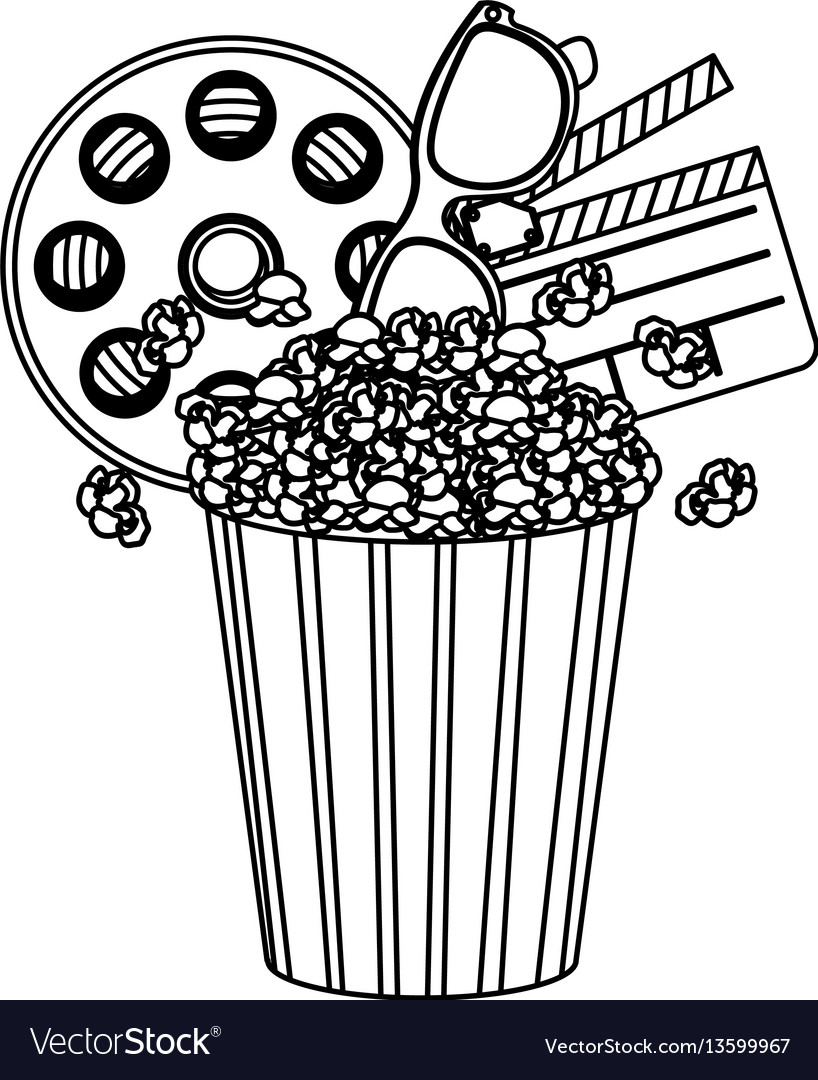 Pop corn film and clipart icon.
