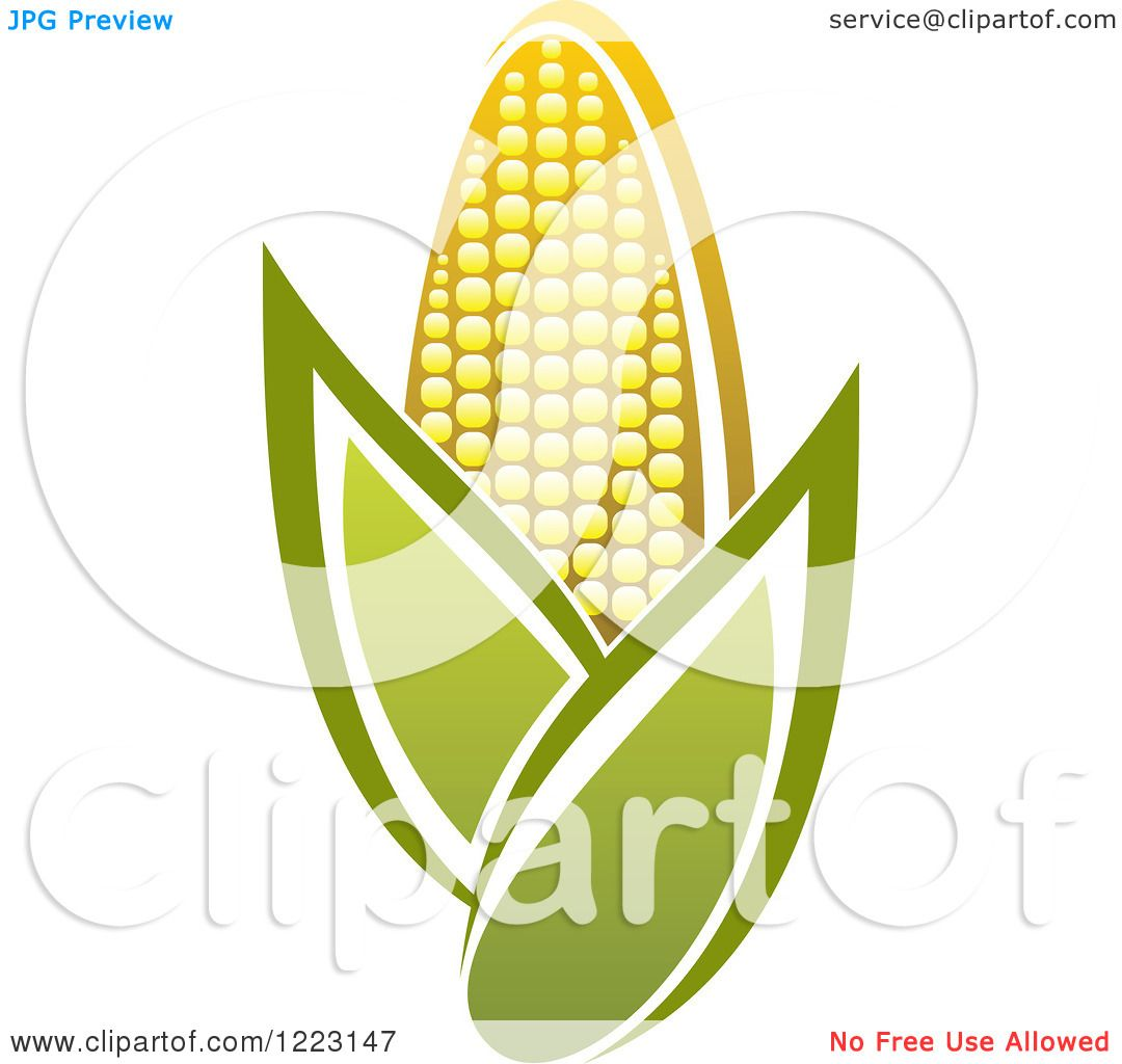 Clipart of a Golden Ear of Corn and Leaves 3.