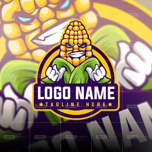 Corn Mascot Logo.