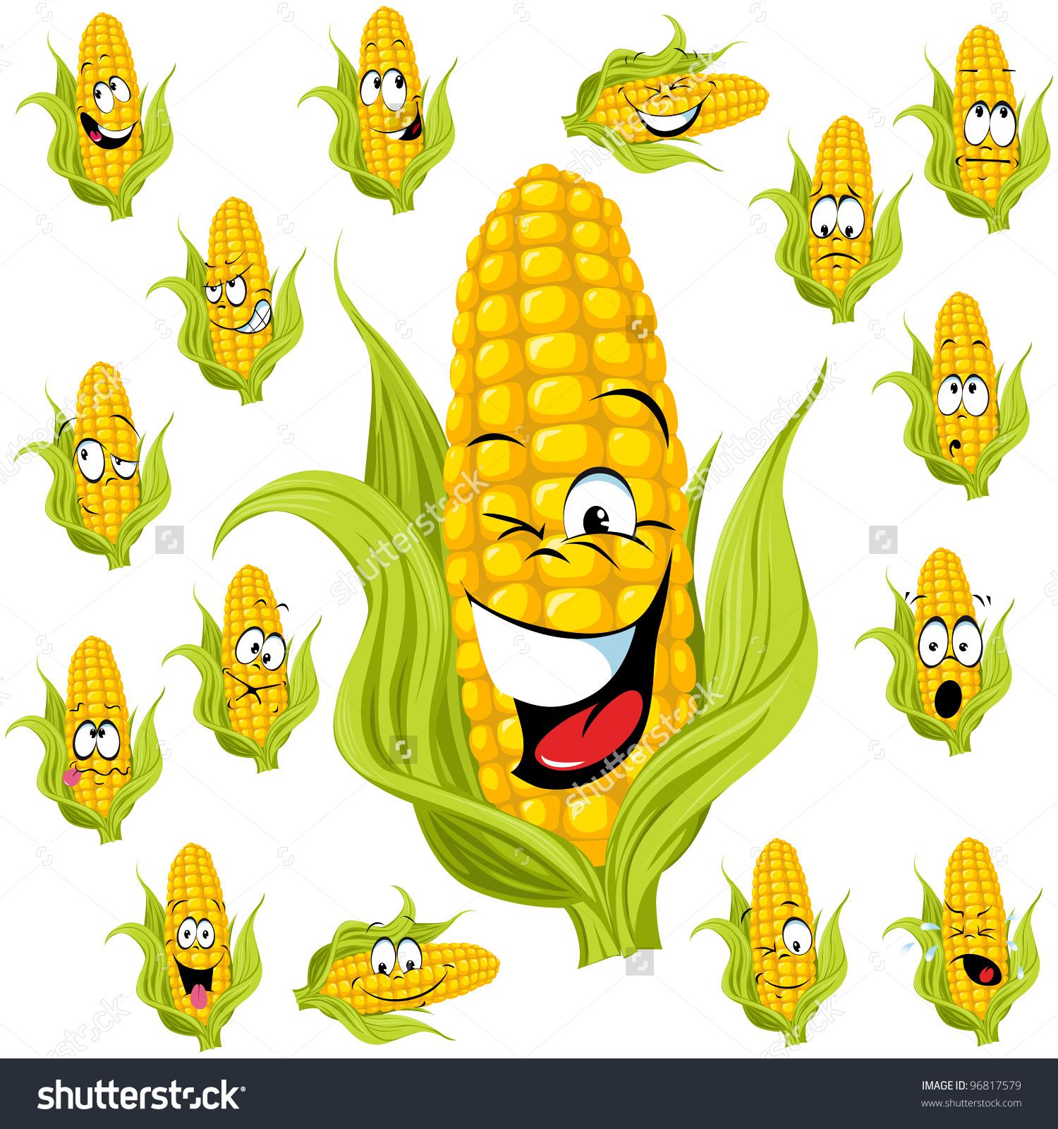 Sweet Corn Cartoon Many Expressions Stock Vector 96817579.