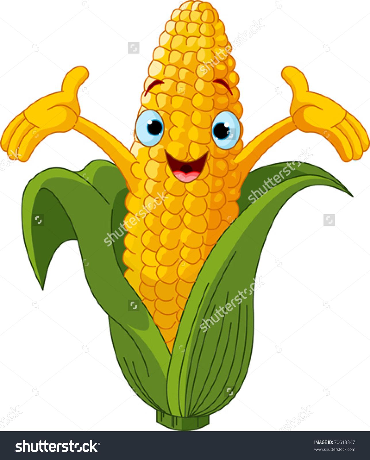 Illustration Sweet Corn Character Presenting Something Stock.