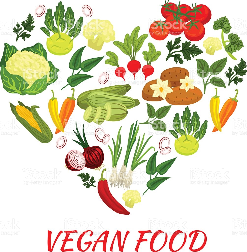 Heart Shape Icon With Vegan Vegetables Elements stock vector art.