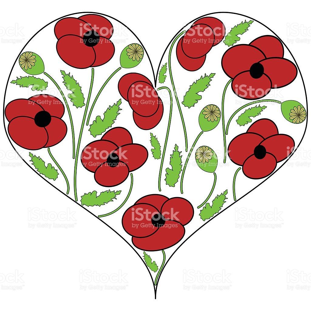 Poppy Flowers In The Heart Shape stock vector art 545985834.