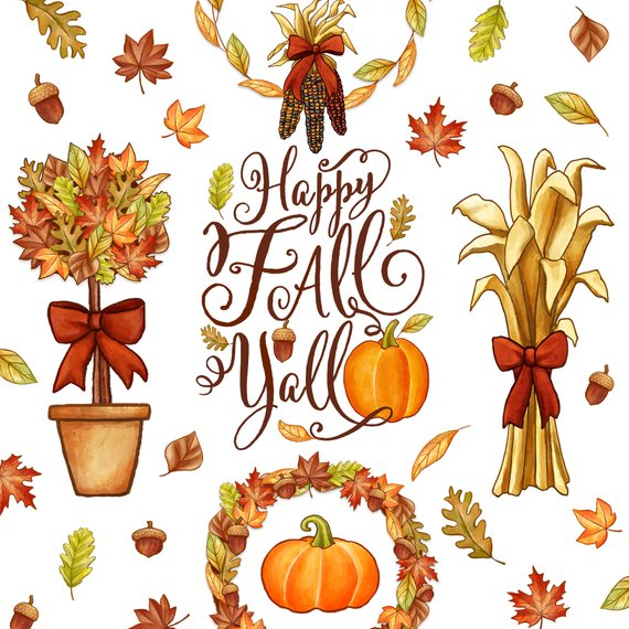Happy Fall Y\'all Clipart. Instant Digital Download. Pumpkins.