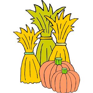 Cornstalks & Pumpkins clipart, cliparts of Cornstalks.