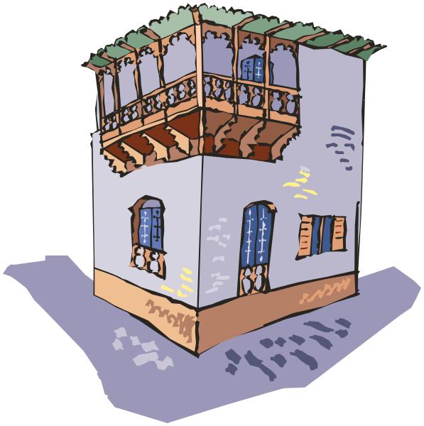 building upper corner patio.