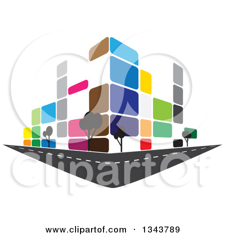 Clipart of a Colorful Street Corner City Building with Trees 2.