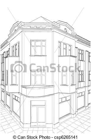 Vector Clip Art of Building Corner Residential House Vector.