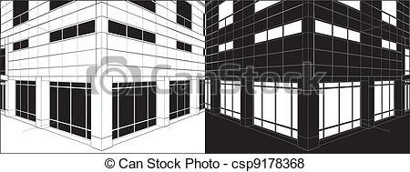 Vector of Corner Of Business Building Negative Vector csp9178368.