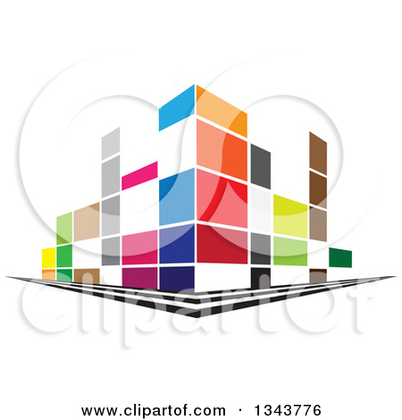 Clipart of a Colorful Street Corner City Building.