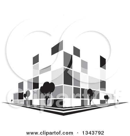 Clipart of a Grayscale City Building on a Corner, with Trees.