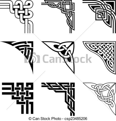 Vector Clipart of celtic corners set.