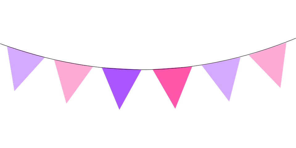 Free vector graphic: Flags, Bunting, Swag, Pink, Purple.
