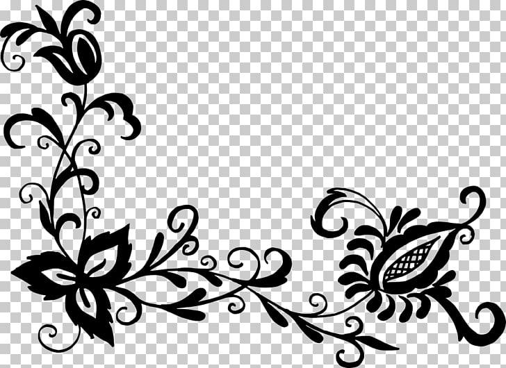 Flower Floral design , corner flower, black flower PNG.