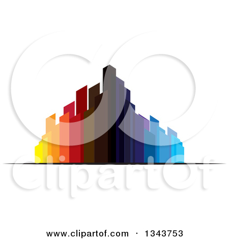 Clipart of a Street Corner City Building with Trees and a Sunset.