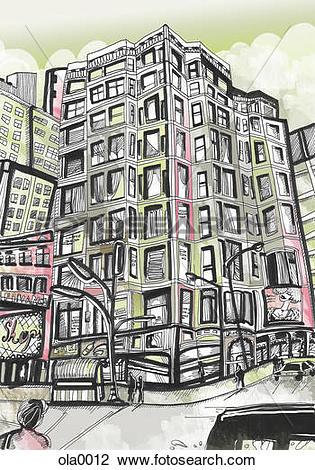 Clip Art of A high rise building on a street corner ola0012.