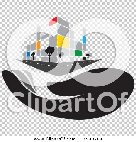 Clipart of a Hand Under a Colorful Street Corner City Building.