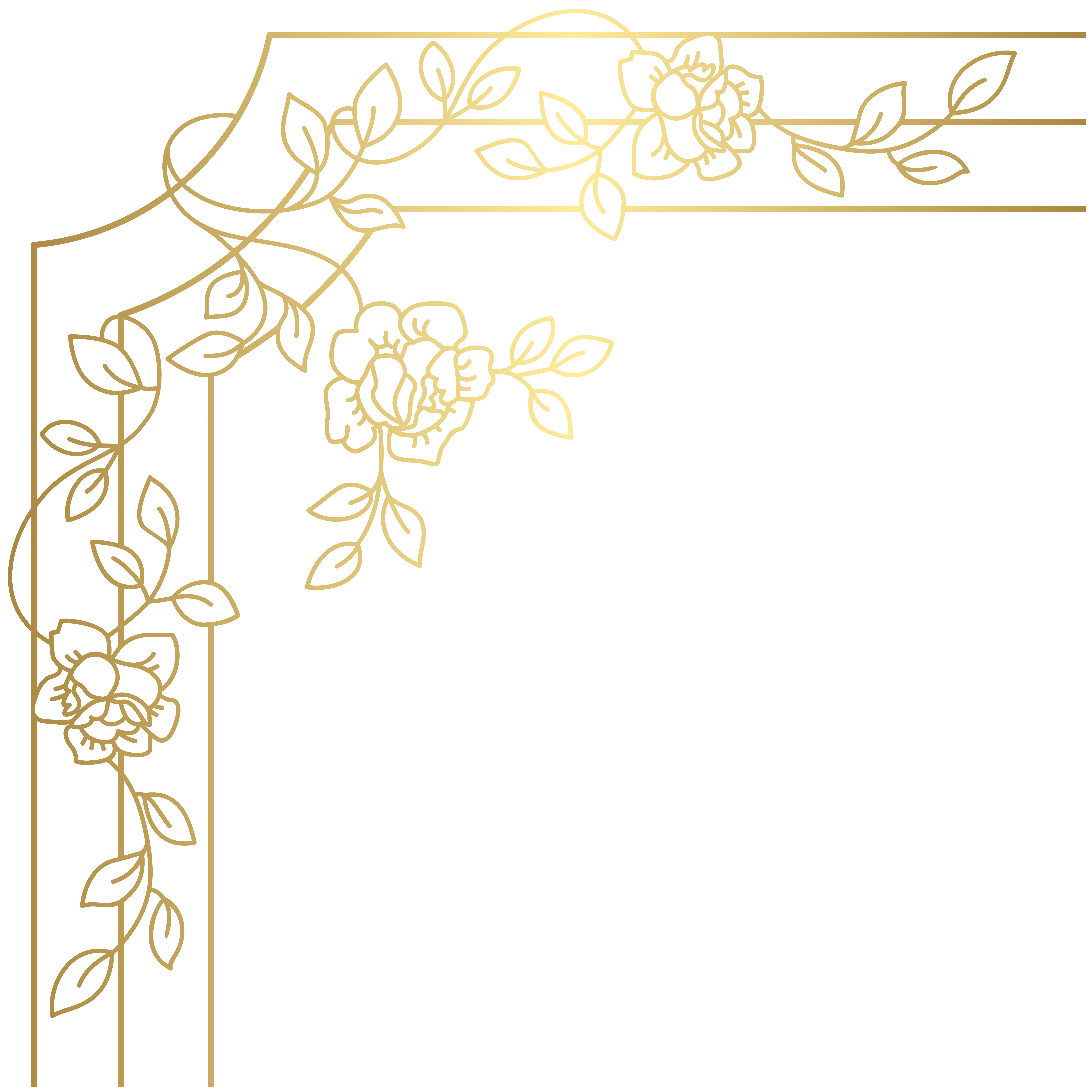 Decorative Golden Corner PNG Clip Art.
