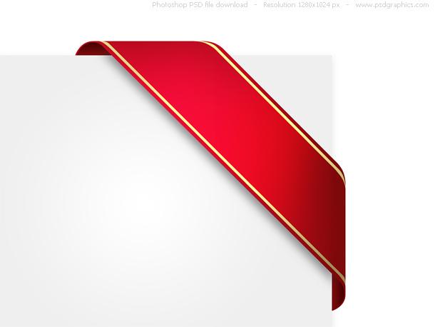 Decorative corner ribbon, PSD template.