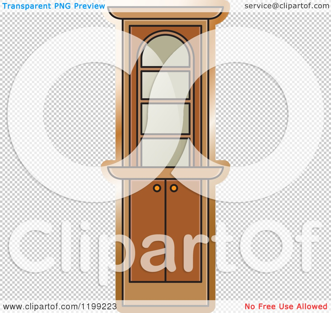 Clipart of a Brown Corner Showcase Cabinet.