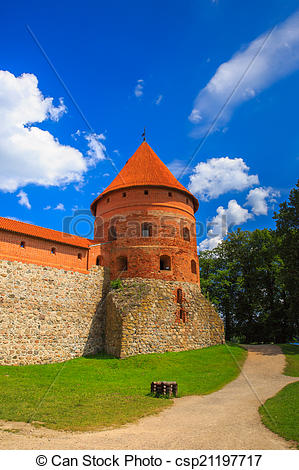 Stock Photography of Corner tower of the Trakai Island Castle near.