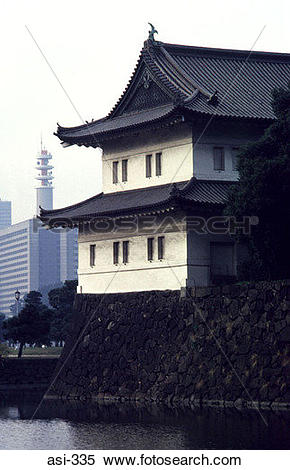 Stock Image of Corner Tower of Imperial Palace Tokyo Japan Asia.